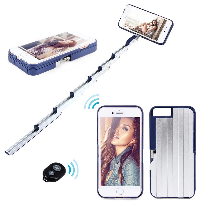 Overlays Selfie Photo Stick Phone Case Remote Wireless Camera Shutter Monopod For iPhone 6 6S Plus