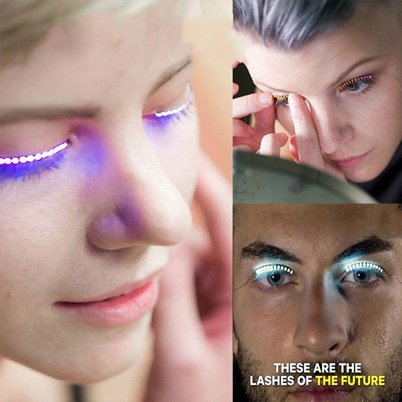 2 Pair LED Blue Color Luminous Eyelash Light Up Fashion False Eye Lash Party Icon Club Bar
