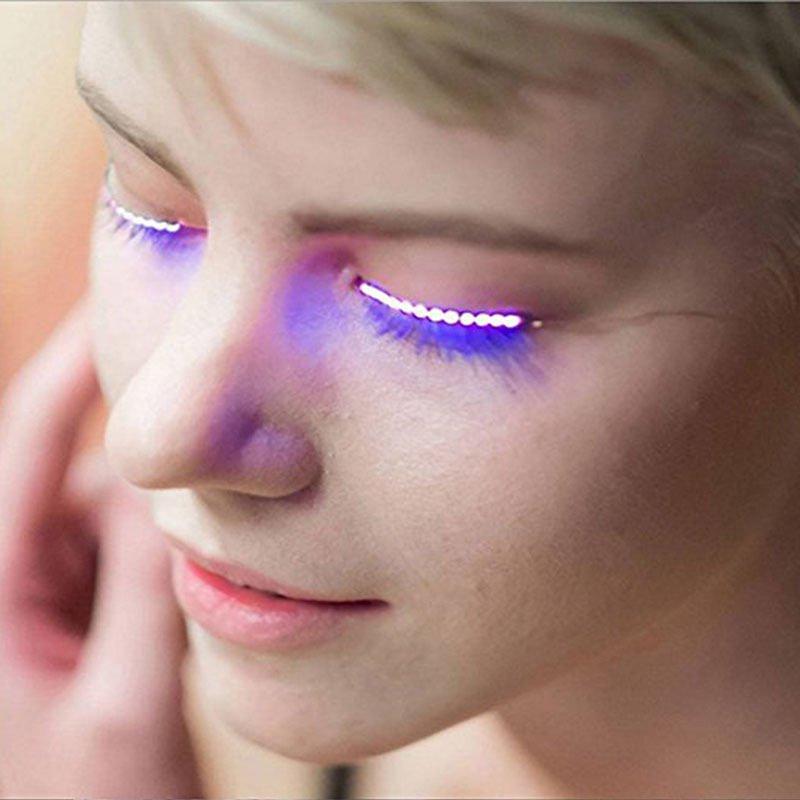 2 Pairs LED Blue Voice Control Luminous Eyelash Party Trendy Fashion Eye Lash