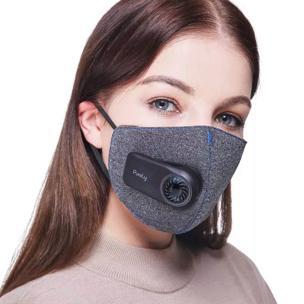 Purely Breathing Mouth Air Filter Mask With Fan Quiet Block PM 2.5 Passive Smoke