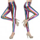 A Pair of Colorful Women Holographic Metallic Stretch Leggings Pants One Size