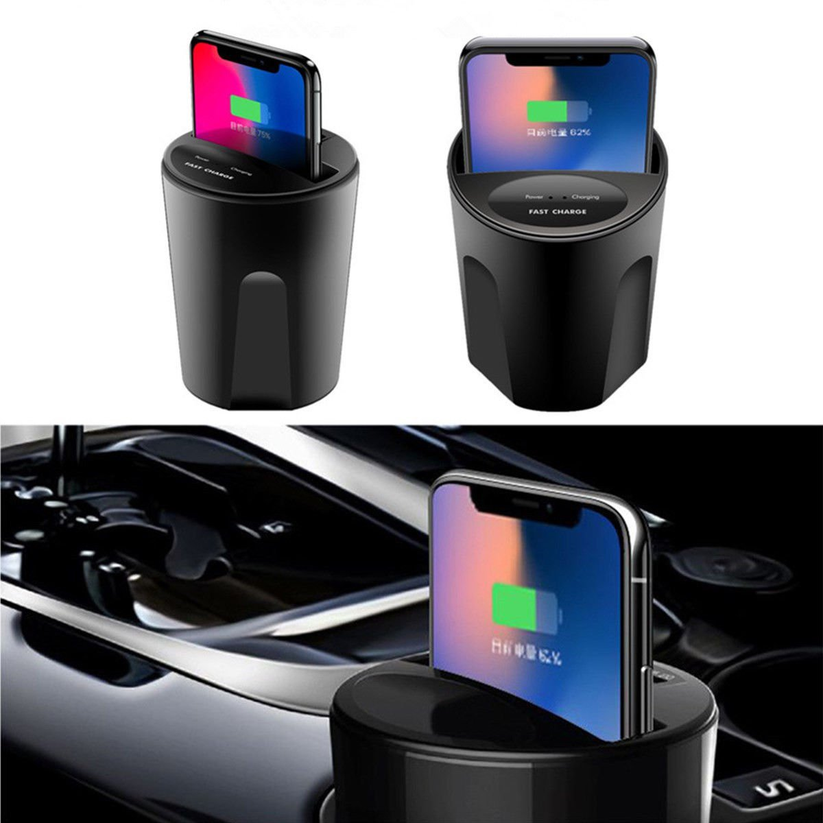 Qi Wireless Car Charger Cup Phone Mount Fast Charging Holder For iPhone X 8 7 6s