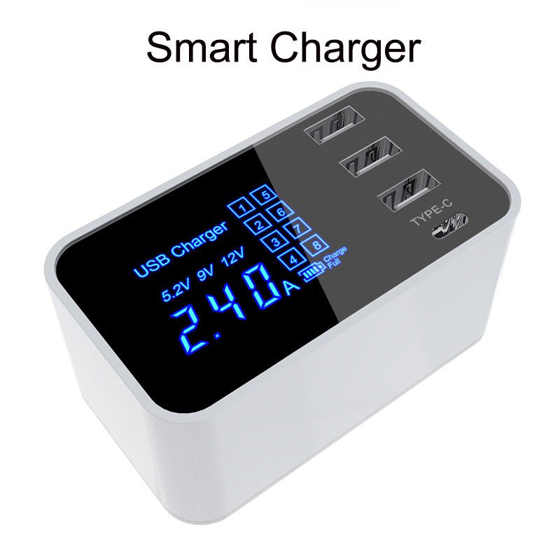 Multi Function 4 Port USB Type C Fast Rapid Charging Charge Adapter Wall Charger