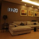 3D Modern Design Digital LED Wall Time Clock Alarm Table White 24 Hour Display