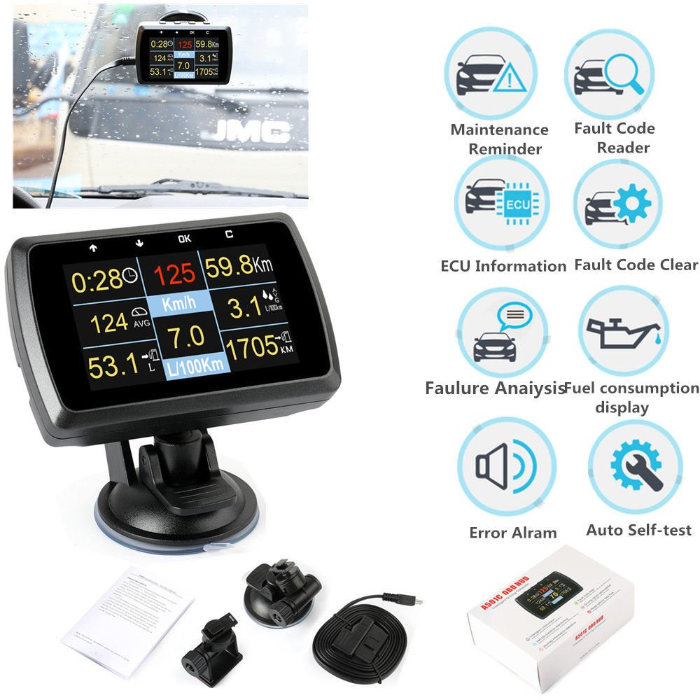 OBD2 Code Reader HUD Head Up Display Monitor Fuel Speedometer Water Temp Tool