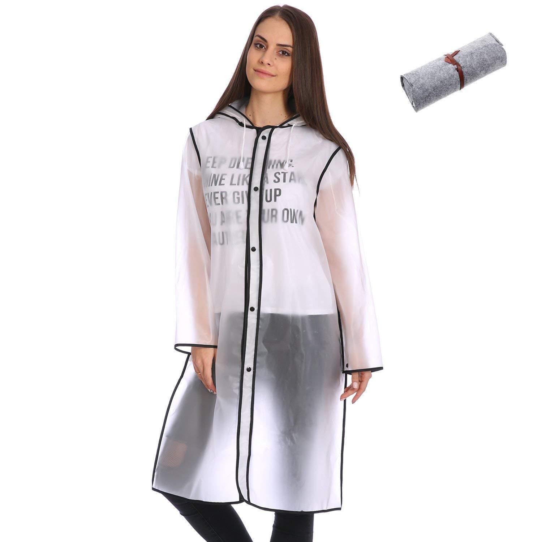 Cute Fashionable Vinyl Raincoat Runway Style Women Girls Clear Rain Raining Coat