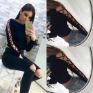Lady Long Sleeve Tops Shirt Black Slim Hollow Side Strap Lace Up T-Shirt Blouse