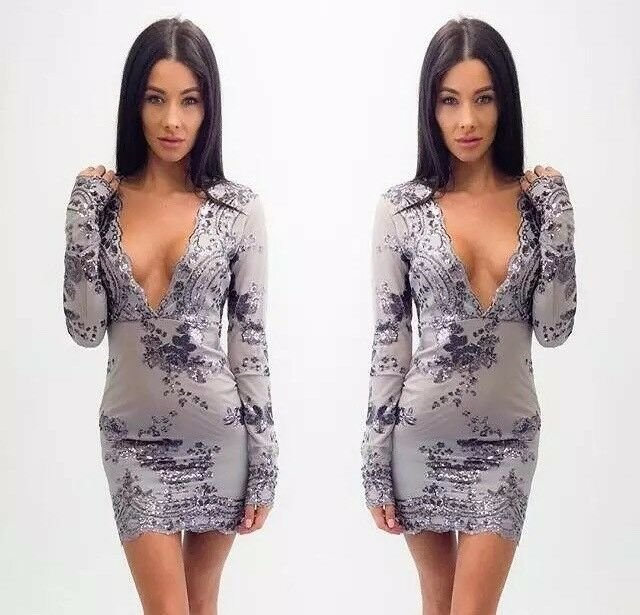Nice Sexy Sequins Deep V Neck Bandage Bodycon Evening Cocktail Party Mini Dress