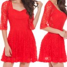 Red Color Dress Cocktail Long Party Casual Evening Bodycon Summer Fashion Sleeve