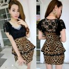 Korean Type Casual Short Sleeve Fashion Slim Dress Leopard Lace Strapless Halter