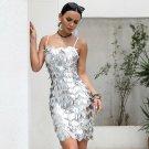 Slash Neck Off Shoulder Tassel Sequin Spaghetti Strap Empire Dresses Party Dress