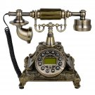 European Style Retro Bronze Antique Telephone Rotary Dial Desk Phone Home Decor
