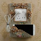 Switch ON Power Wall Socket Frame Cover Mobile Phone Sticker Holder Furnishing