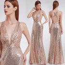 Sequins Rose Gold Celebrity Sweetheart Strapless Prom Gown Evening Party Dresses