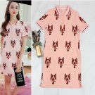Comfortable Pink Dog Print Button Collar Pockets Dress Runway Occident Dresses