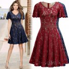 Women Slim Floral Lace Aline Dress with Bell Sleeve for Homecoming Formal Prom
