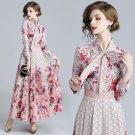 Spring Fall Elegant Runway Floral Printed Tie Neck Empire Long Sleeve Dresses