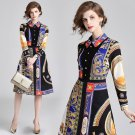 New Spring Fall Vintage Print Collar Geometric Empire Waist Women Casual Dresses