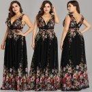 Pretty Extra Plus Size Formal V Shape Neckline Floral Evening Prom Cocktail Party Dresses