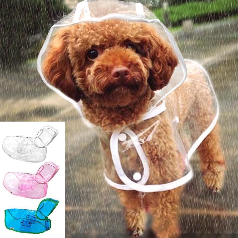 Dog Pet Cat Raincoat Lightweight Clothes Rain Raining Jacket Poncho Transparent