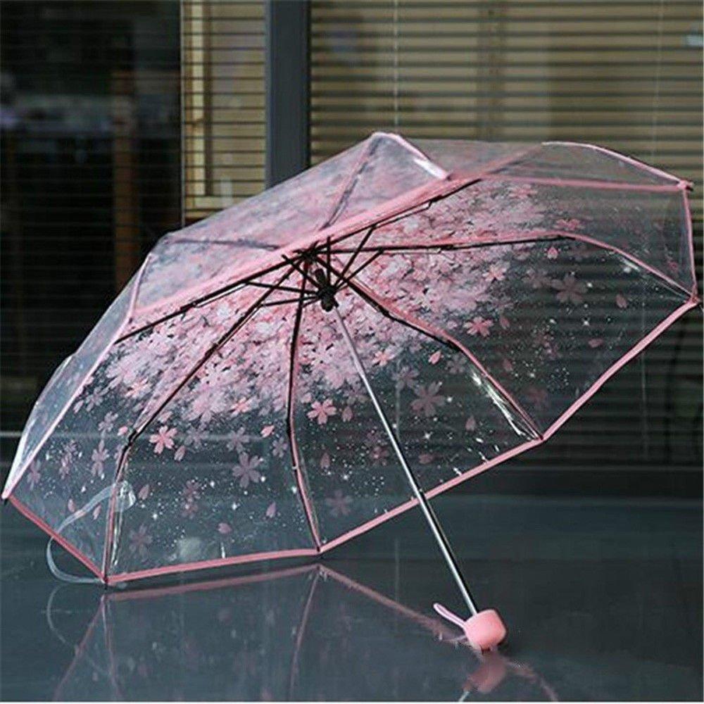 Transparent Beauty Fold Umbrella Pink Cherry Mushroom Umbrella for Apollo Sakura