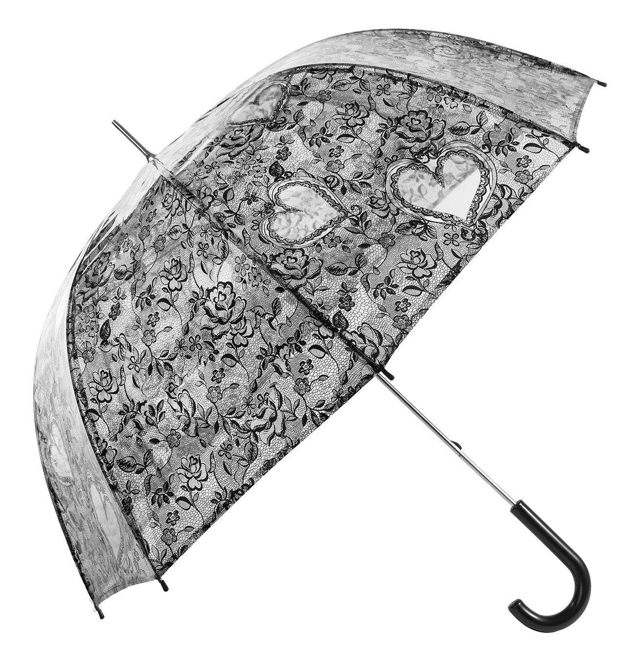 New Transparent Black Bridal Lace Applique Embroidery Print Heart Roses Umbrella