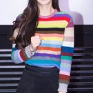 Rib Rainbow Stripe Knitted Sweater Jumper Pullover Loose Cardigan Pull Over Top