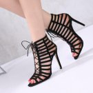 Roman Gladiator Sandals High Heels Peep Toe Black Suede Hollow Out Lace Up Shoes