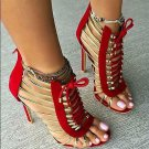 Roma Peep Open Toe Hollow Out Lace Up High Heels Gladiator Sandal Boot Stilettos