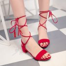 Sweet Gladiator Natural Roman Strappy Chunky Strap Heels Lace-up sandals Shoes