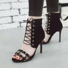 Retro Vintage Knotted Open Toe High Heels Sandals Ankle Strap Lace up Party Shoe