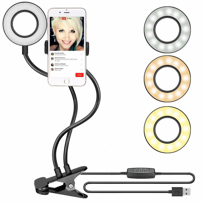Selfie Light Mic Stand Phone Holder for Live Stream Twitter Facebook YouTube