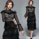 Western Runway Women Black Lace Cake Dress Long Sleeve Sexy Clubwear Casual Wear