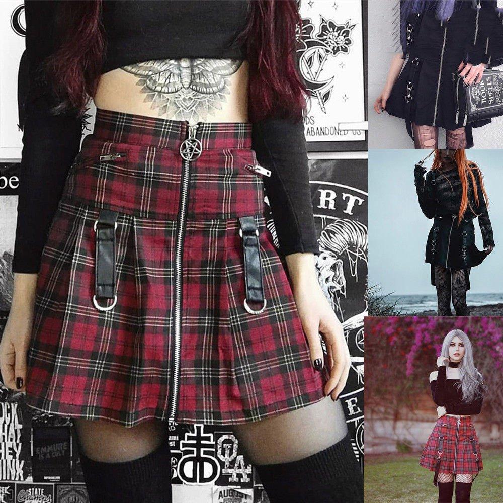 Girl Ladies Mini Skirt Red Plaid Skirts High Waist Ruffle Pleated Short Dress