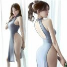 Sexy Trendy High Side Split Lingerie Sheer Cheongsam Long Halter Backless Dress