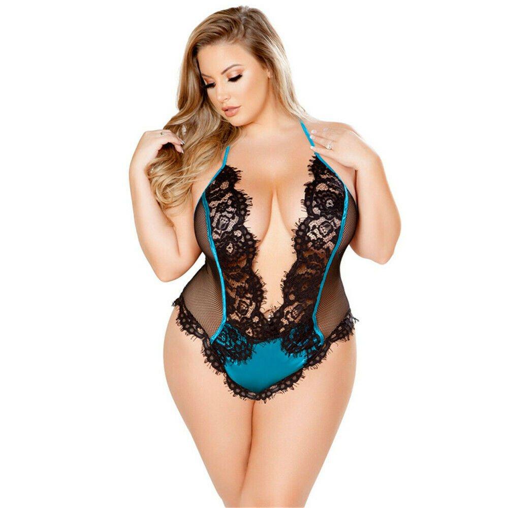 Halter Babydoll Plus Big V Size Women Sexy Lingerie Lace Bodysuit Teddies Wear