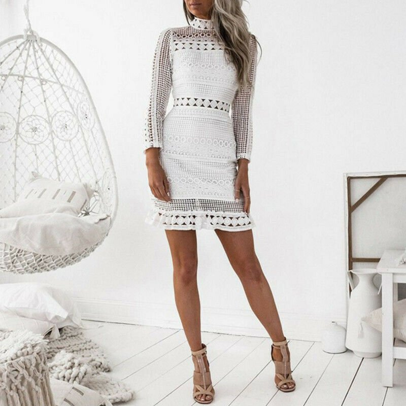 White Women Sexy Lace Bodycon Cocktail Party Pencil Midi Dress Bandage Dresses