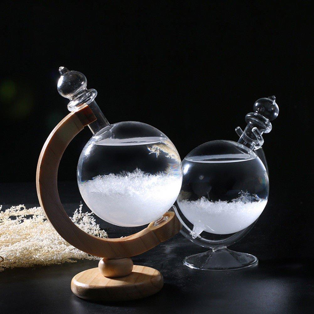 Creative Weather Forecast Storm Glass Revolving Globe Shaped Bottle Predictor