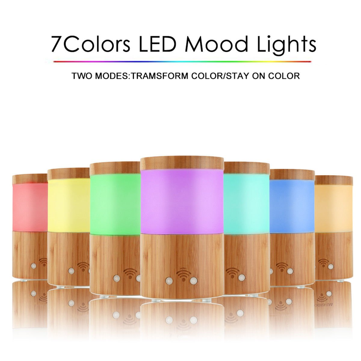 Smart Colorful LED WiFi Ultrasonic Home Aroma Humidifier Bamboo Air Diffuser