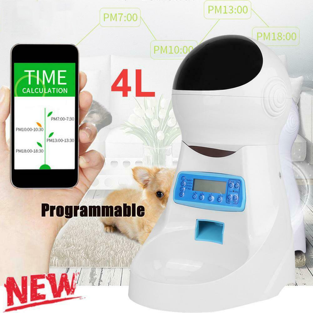 4L Automatic Program Programmable Auto Pet Cat Puppy Dog Feeder Food Dispenser