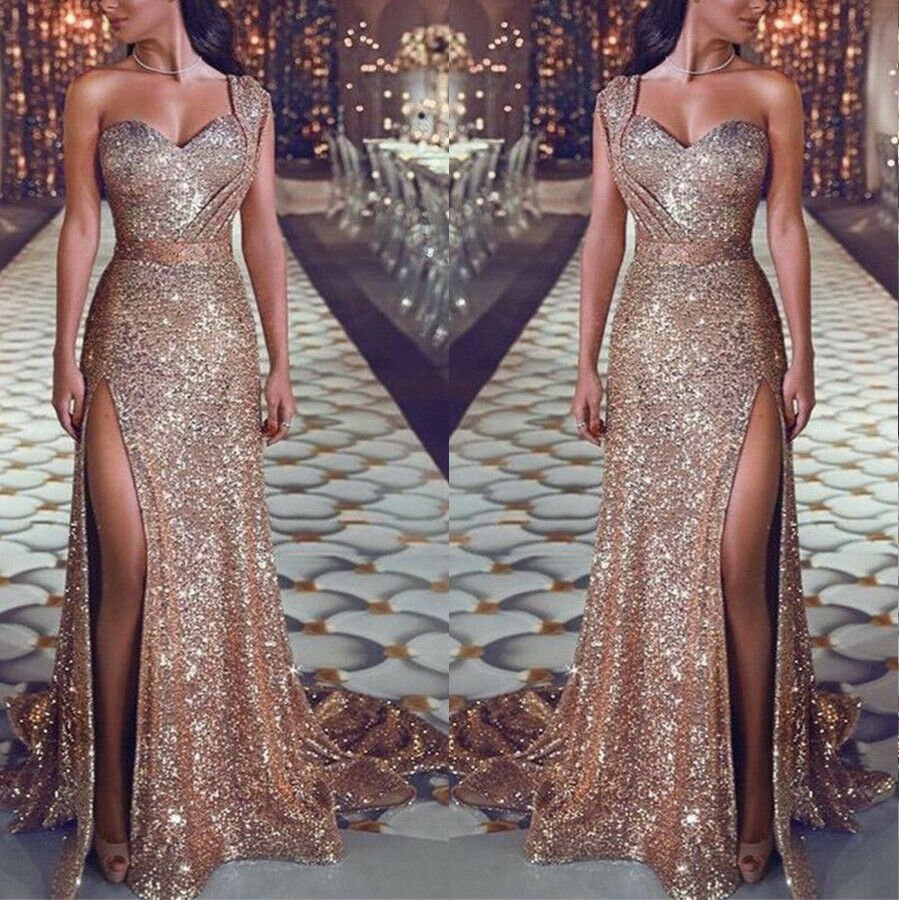 2019 Bridesmaid Wedding Long Evening Cocktail Party Ball Sequin Prom Gown Dress