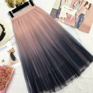 Tulle Summer Skirt Mid Calf Gradient Elegant High Waist A-line Pleated Skirts