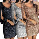 Women Sexy Deep V Sequined Sheath Long Sleeve Bodycon Cocktail Party Mini Dress