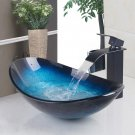 Tempered Glass Vessel Bathroom Toilet Sink Waterfall Faucet Pop Drain Combo Tap