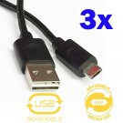 3 Pack Double-Sided Nylon Reversible Micro USB to USB Sync & Charge Cable Cord