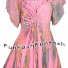 HE3 FUNFASH WOMENS PLUS SIZE TOP PINK PEACOCK EMPIRE WAIST SHIRT BLOUSE 2X 22 24