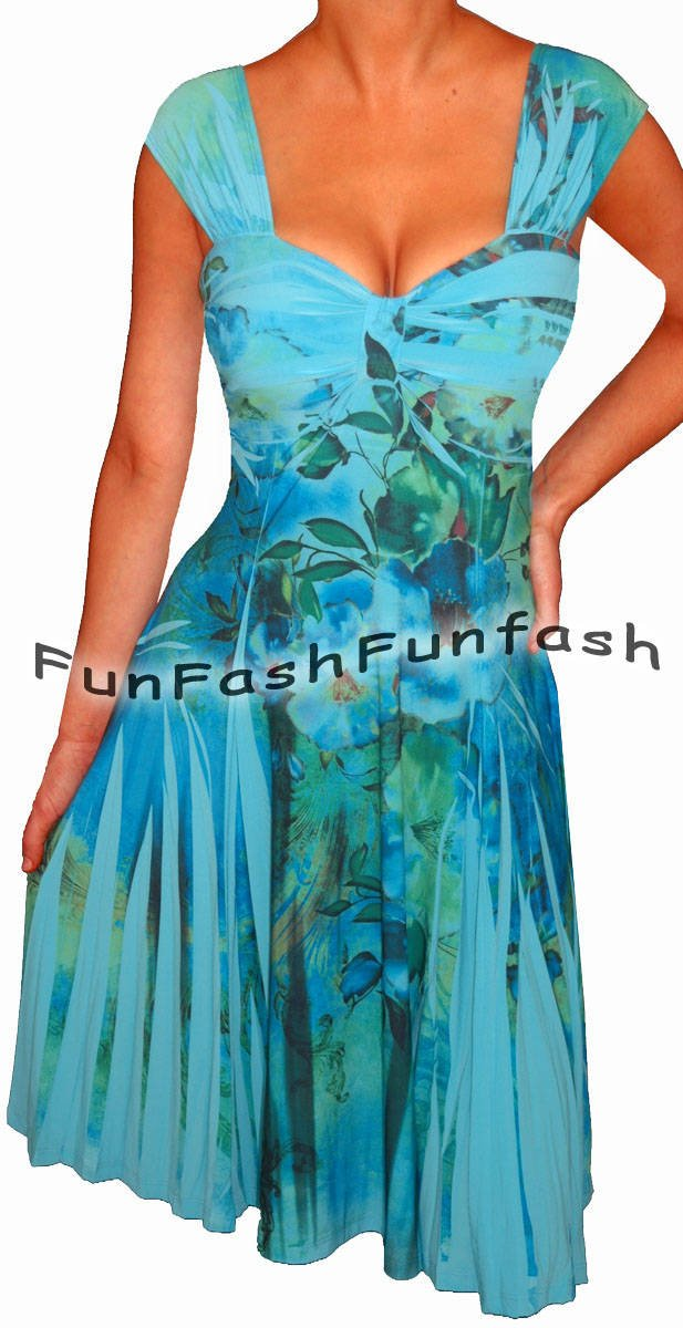 QN1 FUNFASH BLUE FLORAL SLIMMING EMPIRE WAIST COCKTAIL PLUS SIZE DRESS 1X XL 16