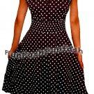 QI1 FUNFASH BLACK WHITE POLKA DOTS ROCKABILLY PEASANT DRESS Plus Size 1X XL 16