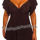 NO1 FUNFASH EMPIRE WAIST SLIMMING BLACK TOP SHIRT BLOUSE NEW Plus Size 1X XL 16