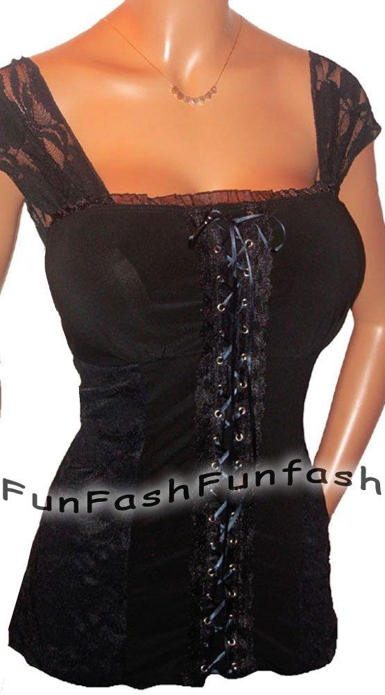AY30 FUNFASH CORSET GOTHIC BLACK LACE BUSTIER WOMEN PLUS SIZE TOP SHIRT 2X 22 24